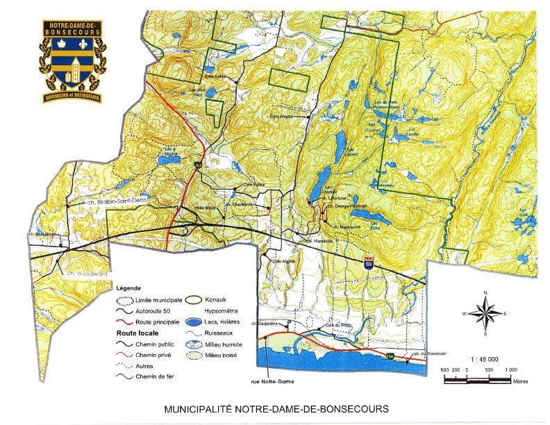 Carte routiere Notre-Dame-de-Bonsecours